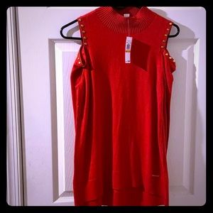 Micheal Kors Red Cold shoulder sweater Size S